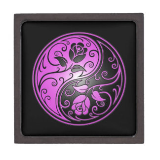 Yin Yang Roses, purple and black Premium Jewelry Box