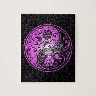 Yin Yang Roses, purple and black Puzzles