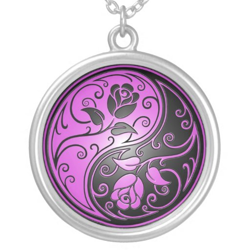 Yin Yang Roses, purple and black Round Pendant Necklace