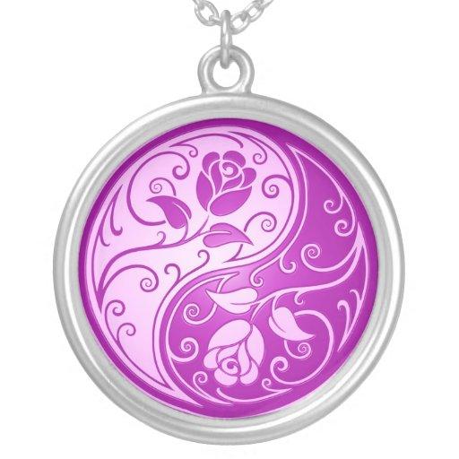 Yin Yang Roses, purple Pendant