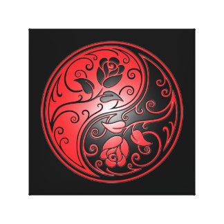 Yin Yang Roses, red and black Canvas Print