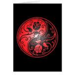Yin Yang Roses, red and black Card