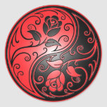 Yin Yang Roses, red and black Classic Round Sticker