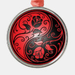 Yin Yang Roses, red and black Round Metal Christmas Ornament
