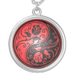 Yin Yang Roses, red and black Round Pendant Necklace