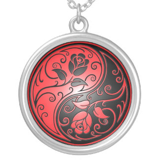Yin Yang Roses, red and black Silver Plated Necklace