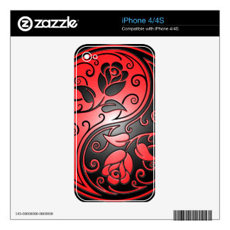 Yin Yang Roses, red and black Decals For The iPhone 4S