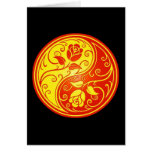 Yin Yang Roses, red and yellow Greeting Card