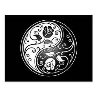 Yin Yang Roses, white and black Postcard