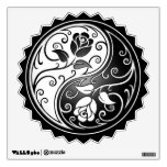 Yin Yang Roses, white and black Room Sticker