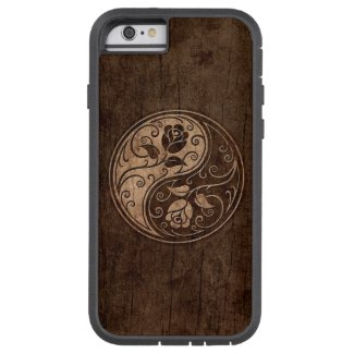 Yin Yang Roses with Wood Grain Effect iPhone 6 Case