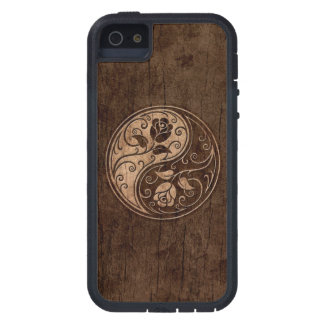 Yin Yang Roses with Wood Grain Effect iPhone 5 Cases