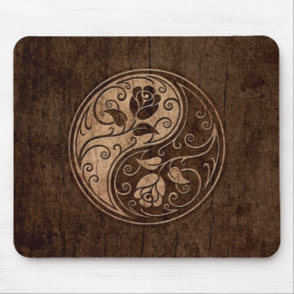Yin Yang Roses with Wood Grain Effect Mouse Pad