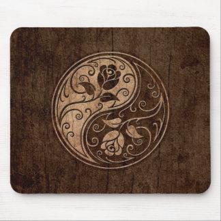 Yin Yang Roses with Wood Grain Effect Mousepads