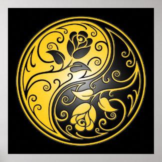 Yin Yang Roses, yellow and black Poster