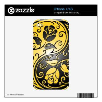 Yin Yang Roses, yellow and black iPhone 4 Skins