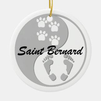 yin yang saint bernard christmas ornament