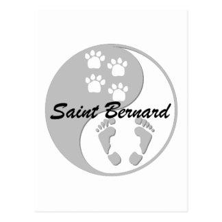 yin yang saint bernard post card