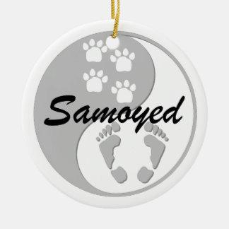 yin yang samoyed Double-Sided ceramic round christmas ornament