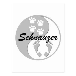 yin yang schnauzer post cards