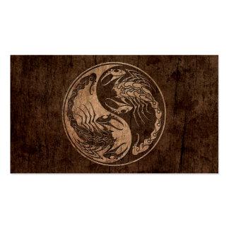 Yin Yang Scorpions with Wood Grain Effect Business Card