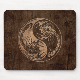Yin Yang Scorpions with Wood Grain Effect Mouse Pad