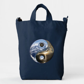 Yin Yang Sea Mountains With Your Monogram Duck Bag