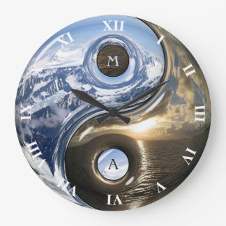 Yin Yang Sea Mountains With Your Monogram Large Clock