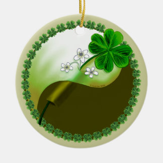 Yin Yang Shamrock Ceramic Ornament