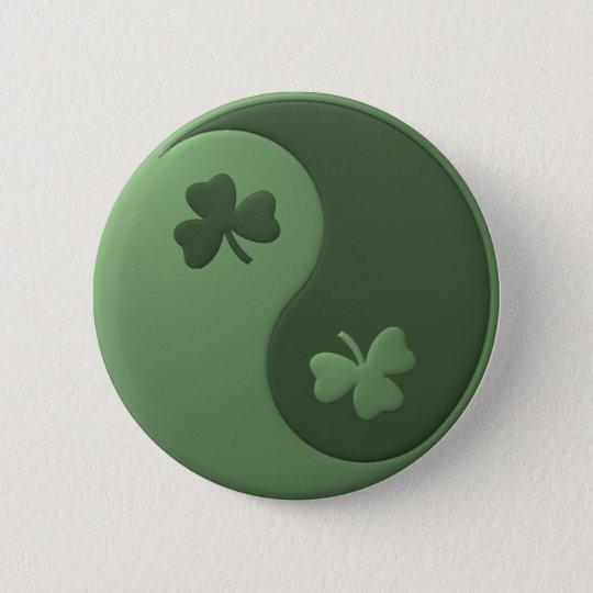 Yin Yang Shamrocks Button