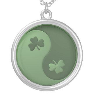 Yin Yang Shamrocks Silver Plated Necklace