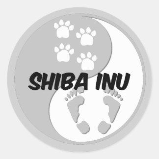 yin yang shiba inu round stickers