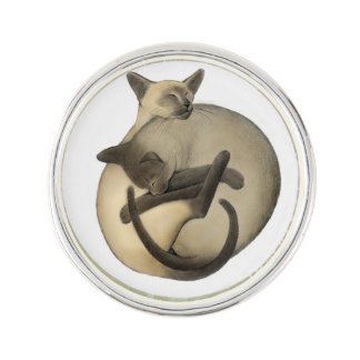 Yin Yang Siamese Cats Lapel Pin