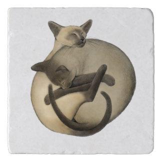 Yin Yang Siamese Cats Stone Trivet