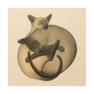 Yin Yang Siamese Cats Wood Wall Art