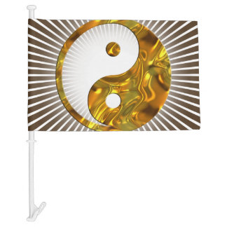 Yin & Yang Sign gold + your background Car Flag