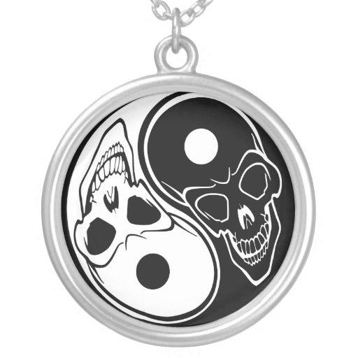 Yin Yang Skull Black and White Necklace