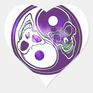Yin Yang Skulls - Purples Heart Sticker