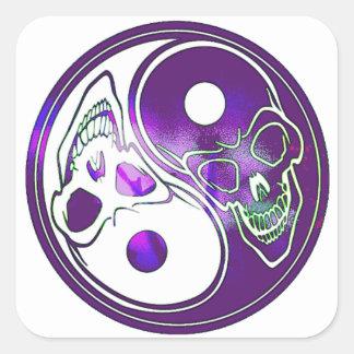 Yin Yang Skulls - Purples Square Sticker