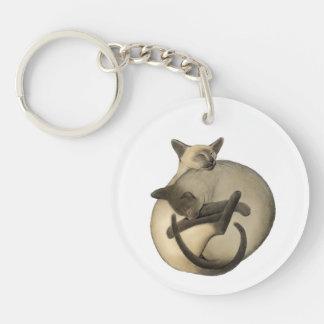 Yin Yang Sleeping Siamese Cats Keychain