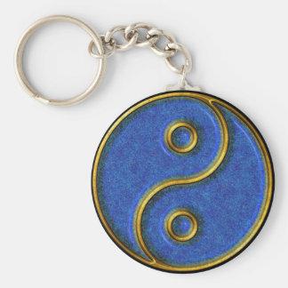 Yin-Yang Smiley Basic Round Button Keychain