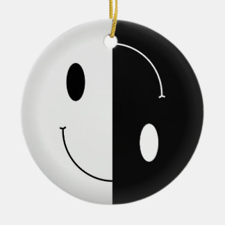 Yin Yang Smiley Ceramic Ornament
