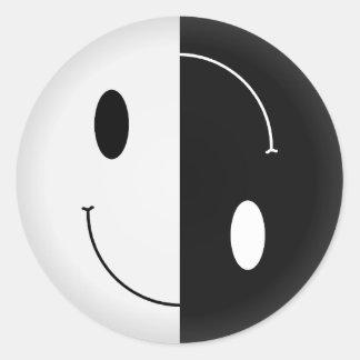Yin Yang Smiley Classic Round Sticker