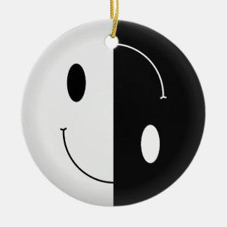 Yin Yang Smiley Christmas Tree Ornament