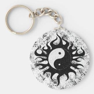 Yin Yang Splatter Basic Round Button Keychain