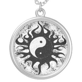 Yin Yang Splatter Round Pendant Necklace
