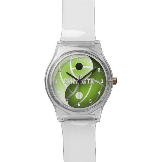yin yang sports volleyball green or ANY color Watch