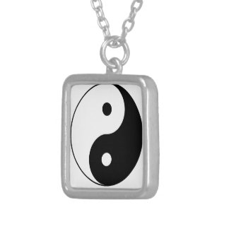 """Yin Yang"" Square Pendant Necklace"