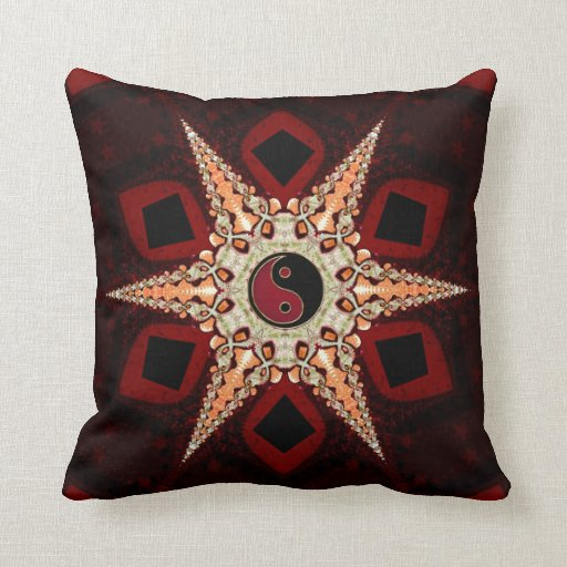 Yin Yang Star Dark Red Black Cushion / Pillow