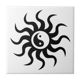 Yin-Yang Sun-Black/White Ceramic Tile
